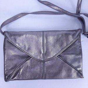 J.Jill Silver Metallic Pebbled Leather Crossbody S